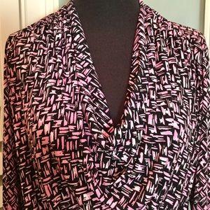 Karen Kane drape front pink & black blouse Size M